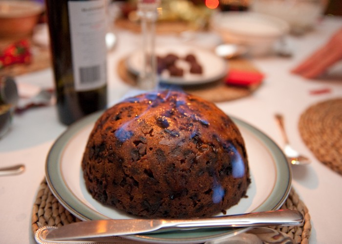 Christmas Pudding On Fire.Christmas